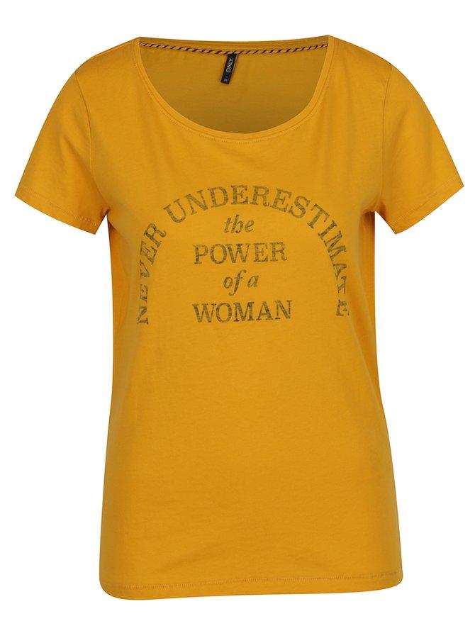 Žluté tričko s potiskem ONLY Basil