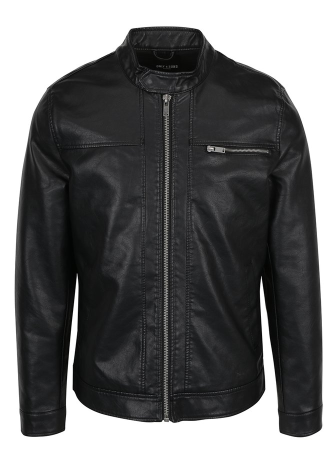 Jachetă neagră ONLY & SONS Samson aspect piele