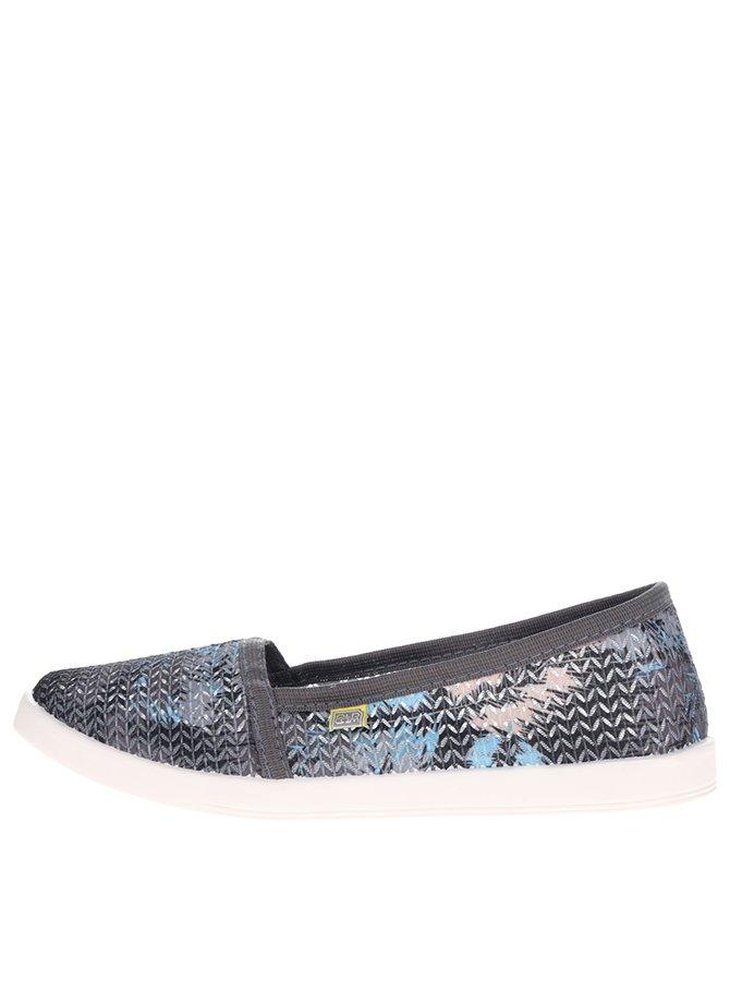 Šedé dámské vzorované perforované loafers Oldcom Tropic