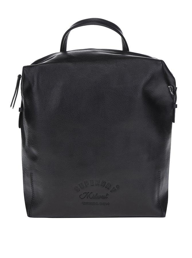 Černý kožený batoh Superdry