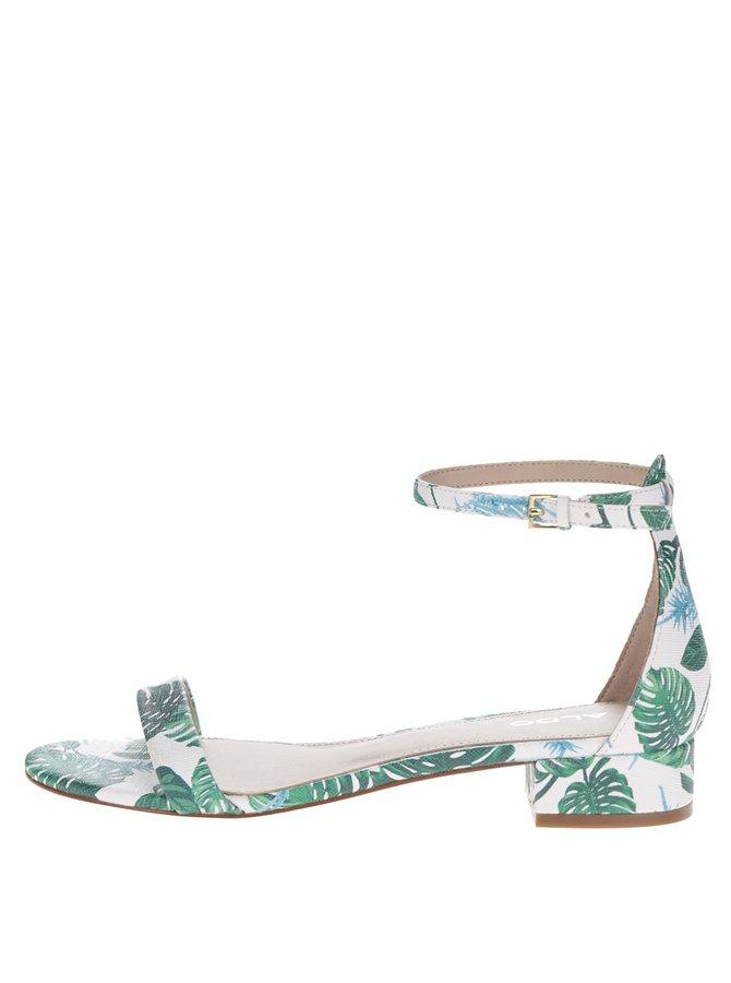 Bílé vzorované sandálky na nízkém podpatku ALDO Angilia
