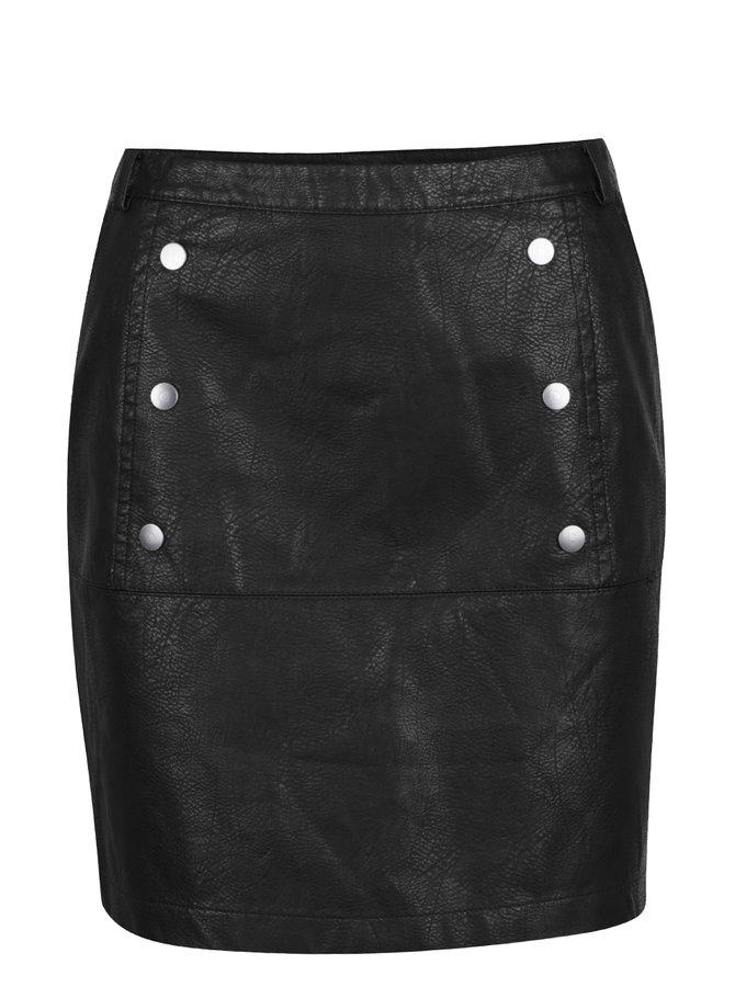 Černá koženková sukně VERO MODA Cameo