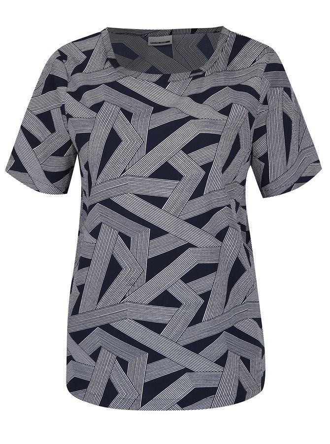 Tricou cu imprimeu geometric alb & bleumarin - Noisy May Trigger