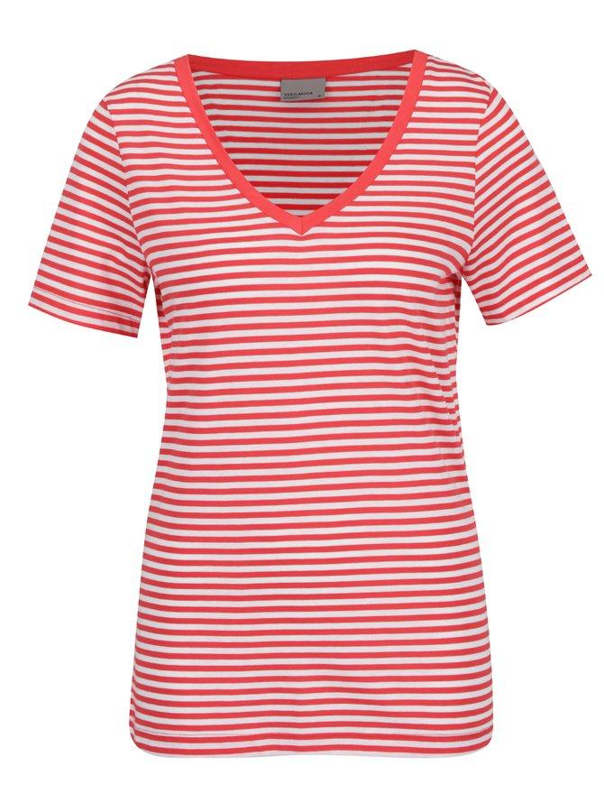 Bílo-červené pruhované tričko VERO MODA Marley