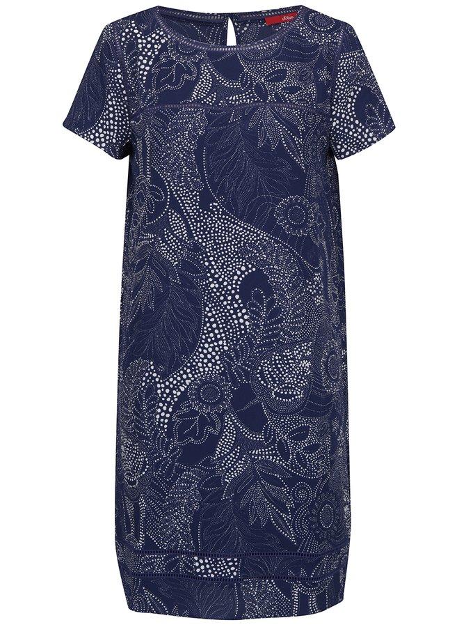 Tmavě modré vzorované šaty s.Oliver