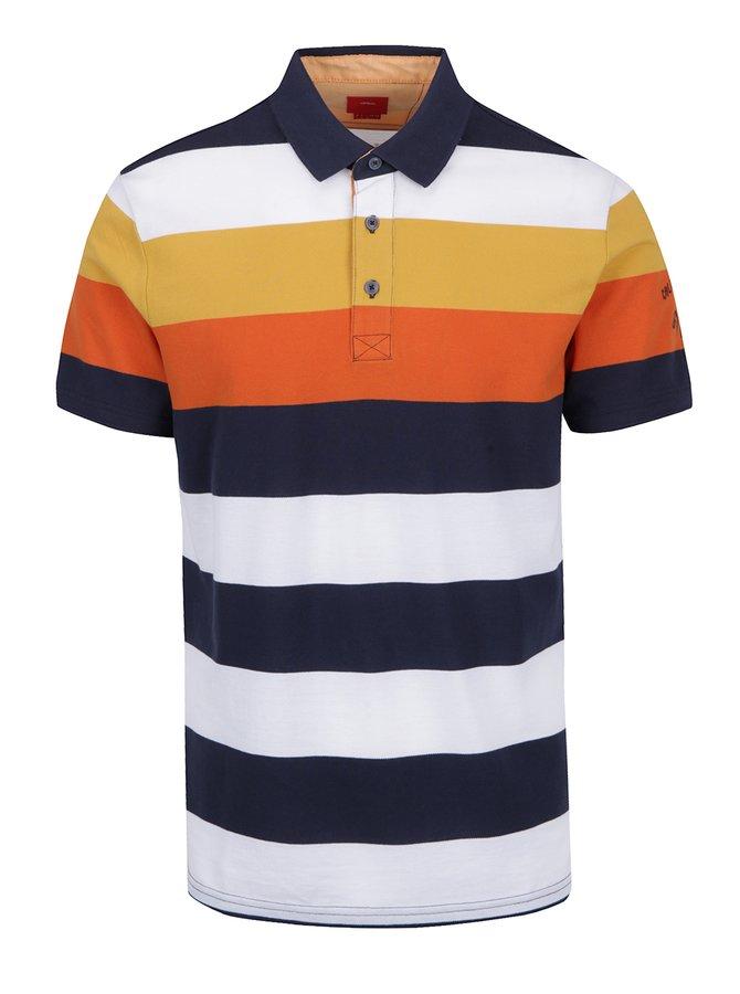 Tricou polo cu dungi multicolore portocaliu și galben  s.Oliver