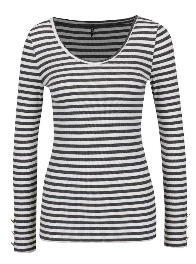 Šedo-krémové pruhované tričko s dlouhým rukávem ONLY Olivia