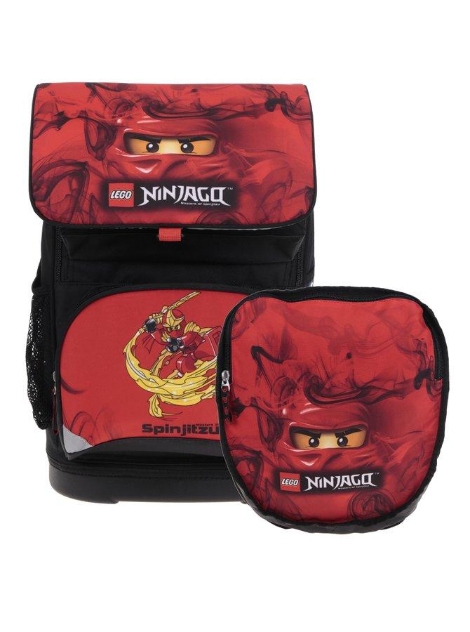Červeno-černá klučičí aktovka s batohem 2v1 LEGO Wear Ninjago Kai Small 22 l