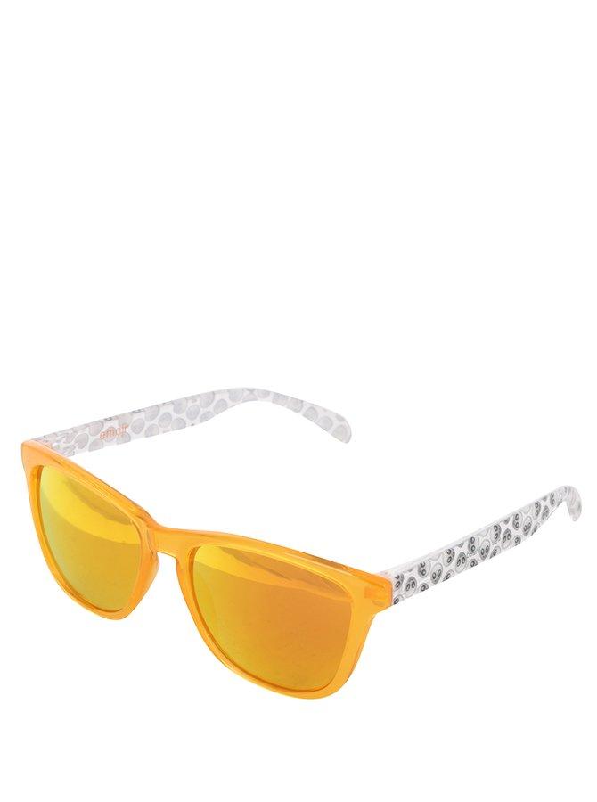 Šedo-oranžové unisex sluneční brýle Emoji Alien