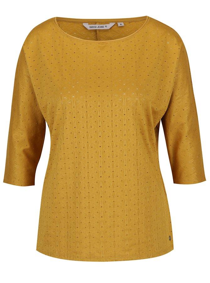 Bluză galben muștar de damă cu model perforat Garcia Jeans
