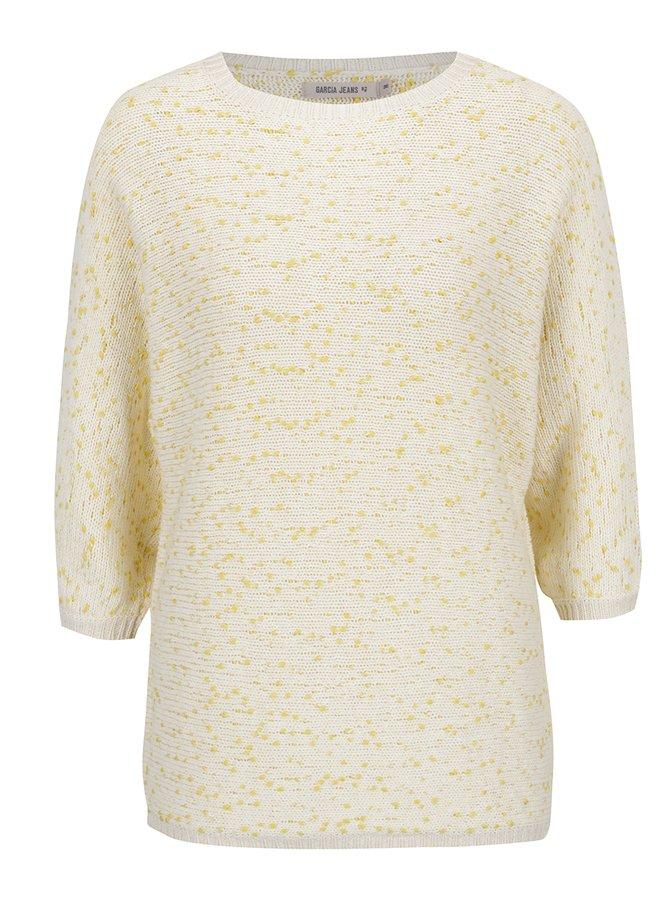 Krémovo-žlutý dámský svetr s 3/4 rukávem Garcia Jeans