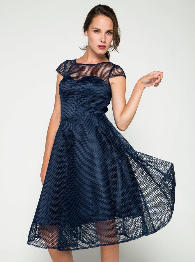 Tmavě modré šaty s tylovou spodničkou Chi Chi London