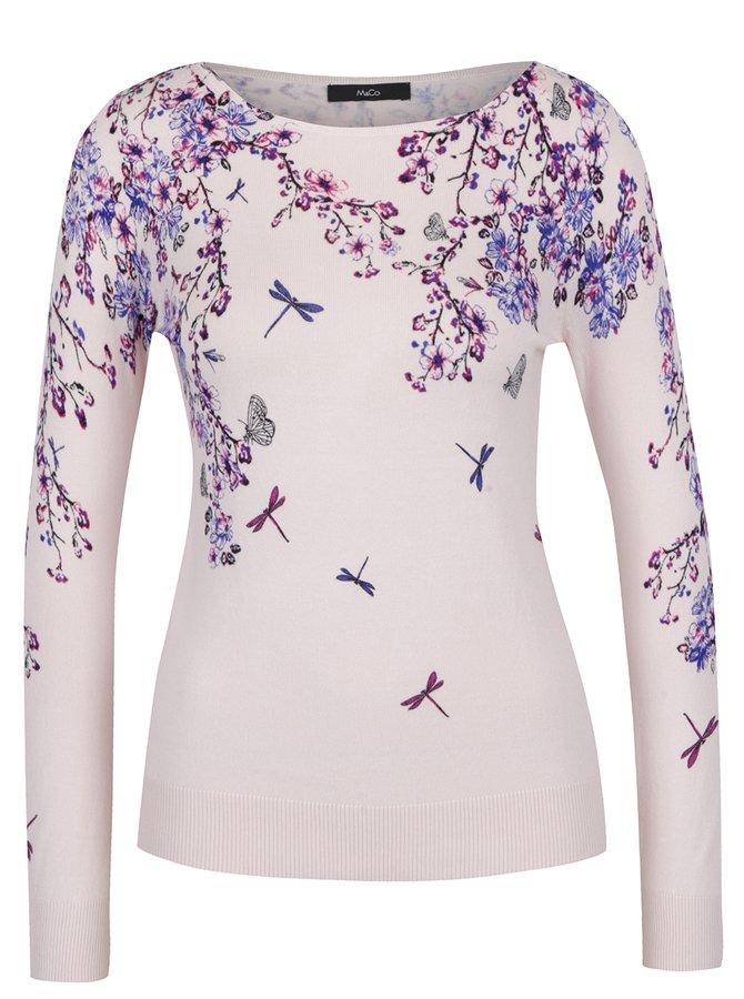 Světle růžový dámský květovaný svetr M&Co