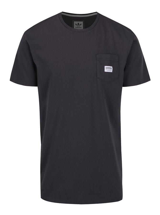 Tricou negru cu aplicatie logo adidas Originals