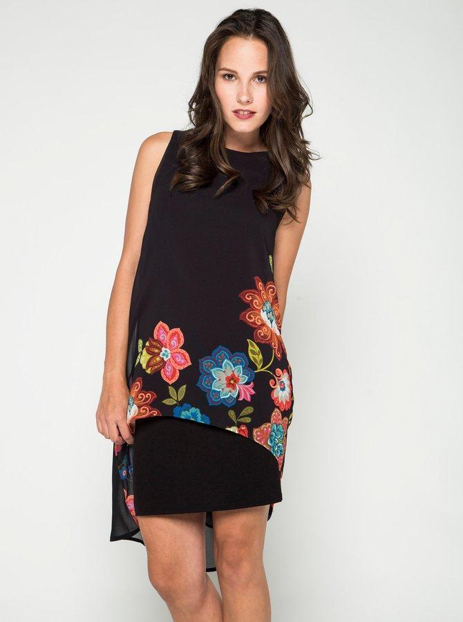 Černé květované šaty bez rukávů Desigual Picos Caribou