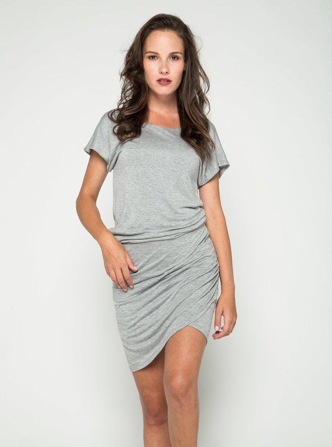 Světle šedé teplákové šaty s jemným rozparkem ONLY Melanie