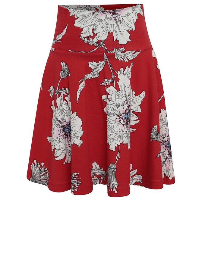 Fustă cloș roșie cu print floral Tom Joule