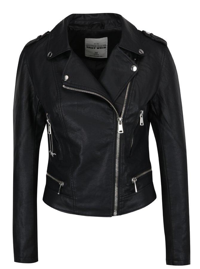 Černá koženková bunda s výšivkou TALLY WEiJL