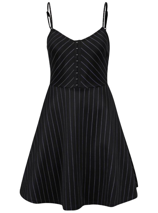 Rochie neagră midi cu bretele subțiri și dungi TALLY WEiJL