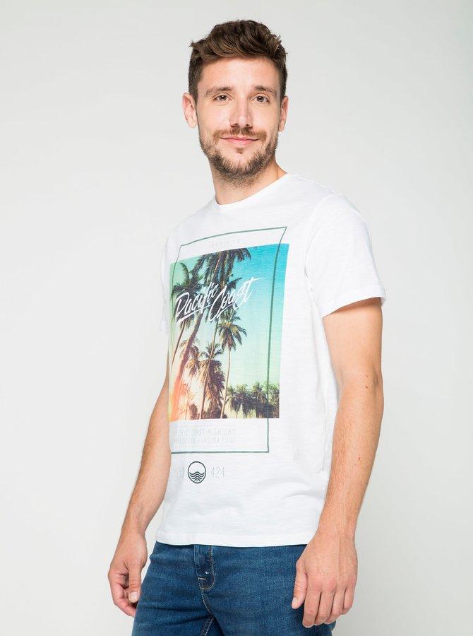 Tricou alb cu print Burton Menswear London