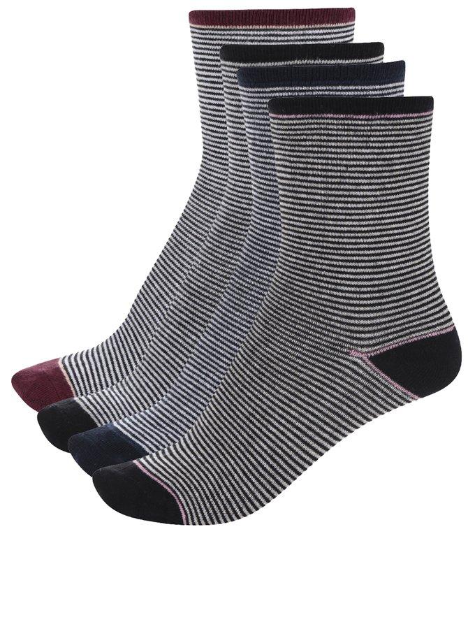 Șosete negre cu dungi argintii VERO MODA Glitter