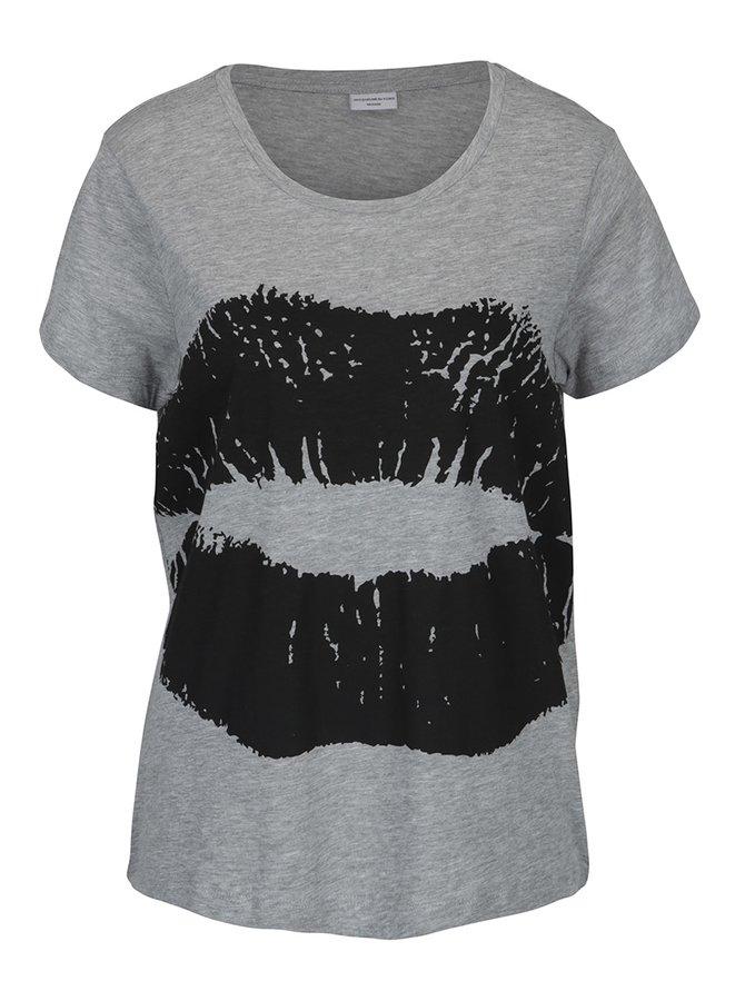 Šedé žíhané tričko s potiskem rtů Jacqueline de Yong Marble