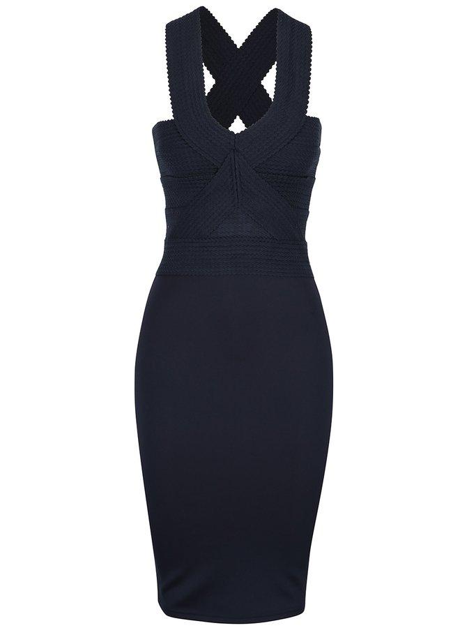 Tmavě modré přiléhavé šaty s překříženými ramínky AX Paris