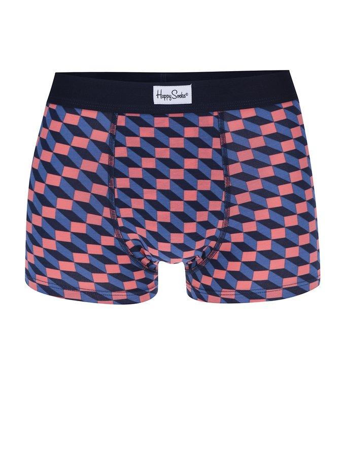 Boxeri albastru&roz cu model geometric Happy Socks Filled Optic