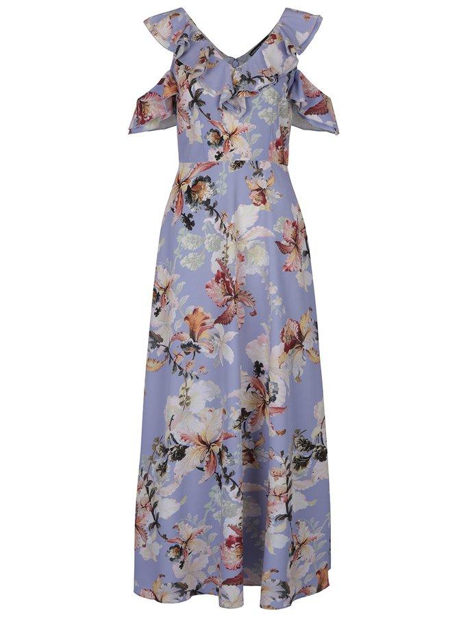 Krémovo-modré květované maxišaty s průstřihy na ramenou Dorothy Perkins