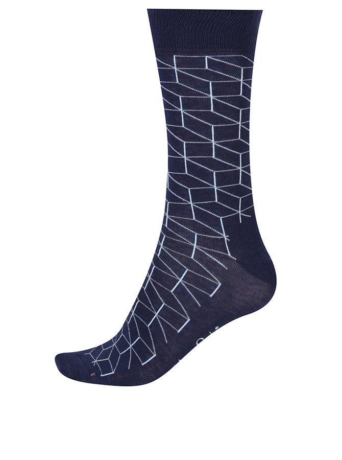 Tmavě modré pánské vzorované ponožky Happy Socks Optic