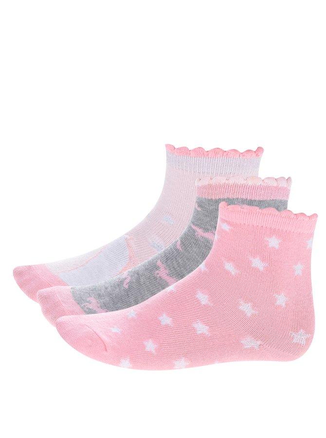 Sada tří párů růžových holčičích vzorovaných ponožek 5.10.15.