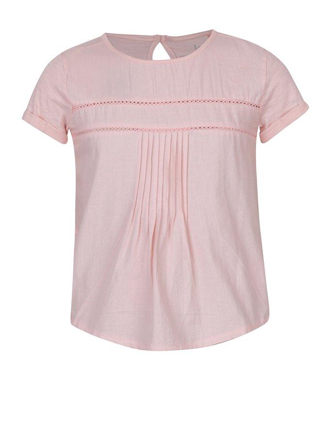Bluză roz deschis cu broderie ajurată pentru fete - 5.10.15.