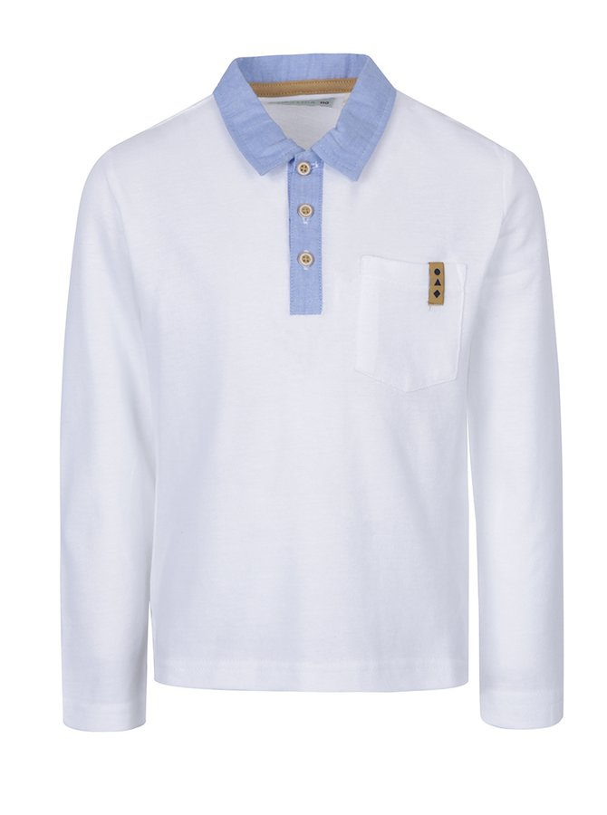Bílé klučičí polo triko s dlouhým rukávem 5.10.15.