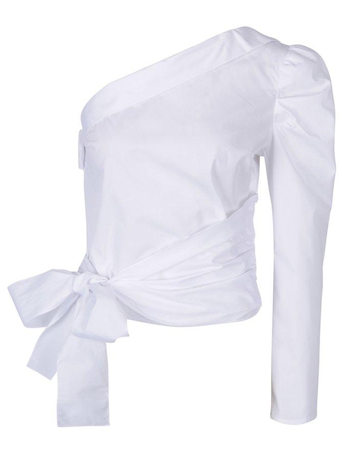 Bluză neagră asimetrică cu fundă - Miss Selfridge