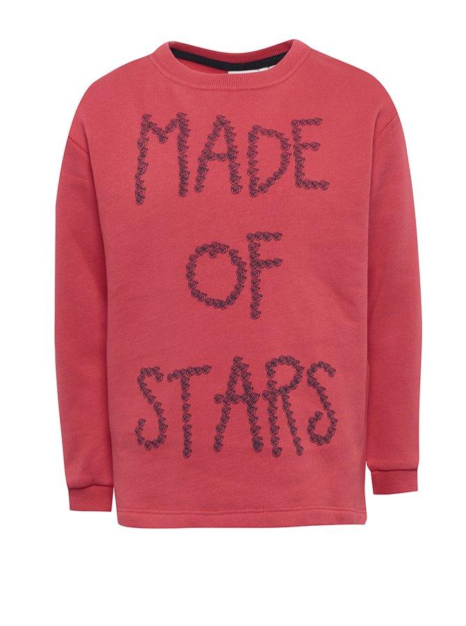 Bluză roșie cu print text pentru fete - name it Kiki