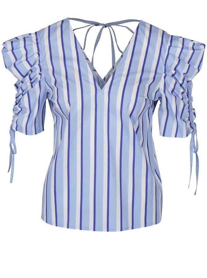 Světle modrá pruhovaná halenka s nařesenými rukávy Miss Selfridge
