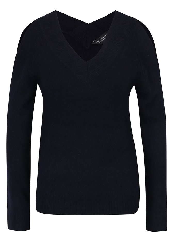 Tmavě modrý svetr s průstřihy na ramenou Dorothy Perkins