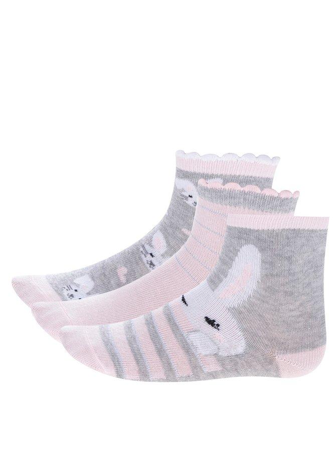 Set de 3 perechi de șosete cu iepurași pentru fete - 5.10.15.