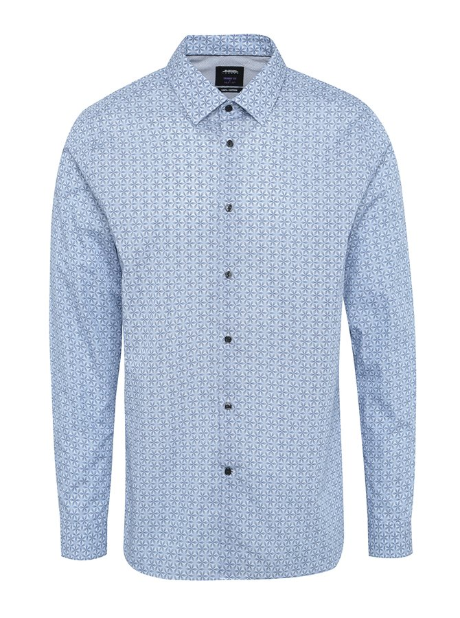 Cămașă office albastră cu model și mâneci lungi Burton Menswear London