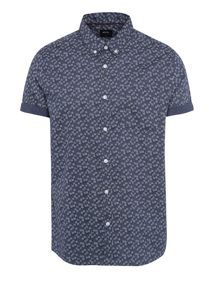 Cămașă albastru închis cu model și mâneci scurte Burton Menswear London