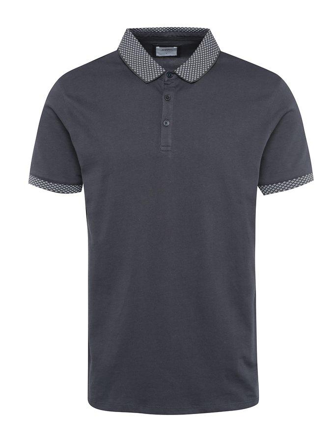 Tmavě šedé polo triko se vzorovanými detaily Burton Menswear London