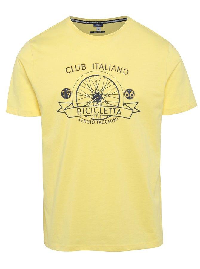 Žluté pánské slim fit tričko s potiskem Sergio Tacchini Veide
