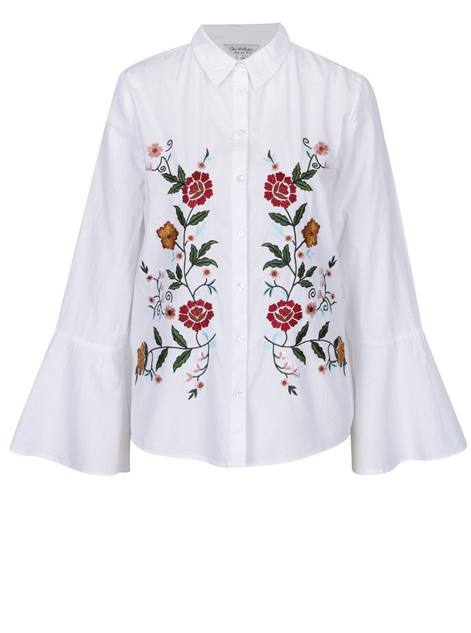 Bílá košile s vyšitými květinami Miss Selfridge
