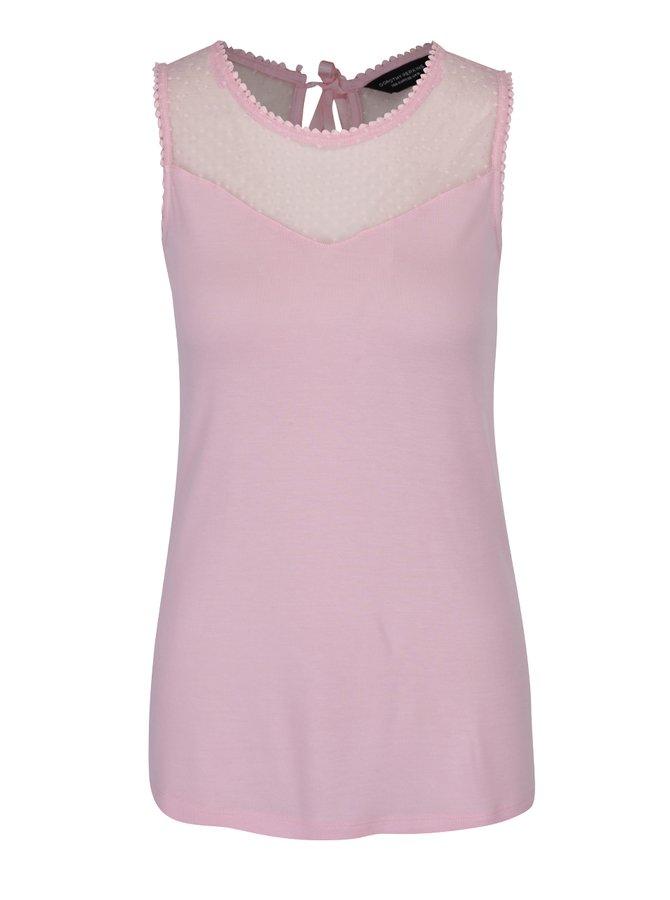 Top roz cu inserție din dantelă cu picouri Dorothy Perkins