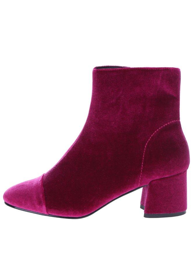 Tmavě růžové sametové kotníkové boty Miss Selfridge