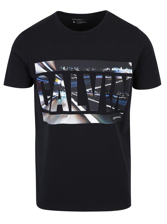 Černé pánské tričko s barevným potiskem Calvin Klein Jeans Tonus