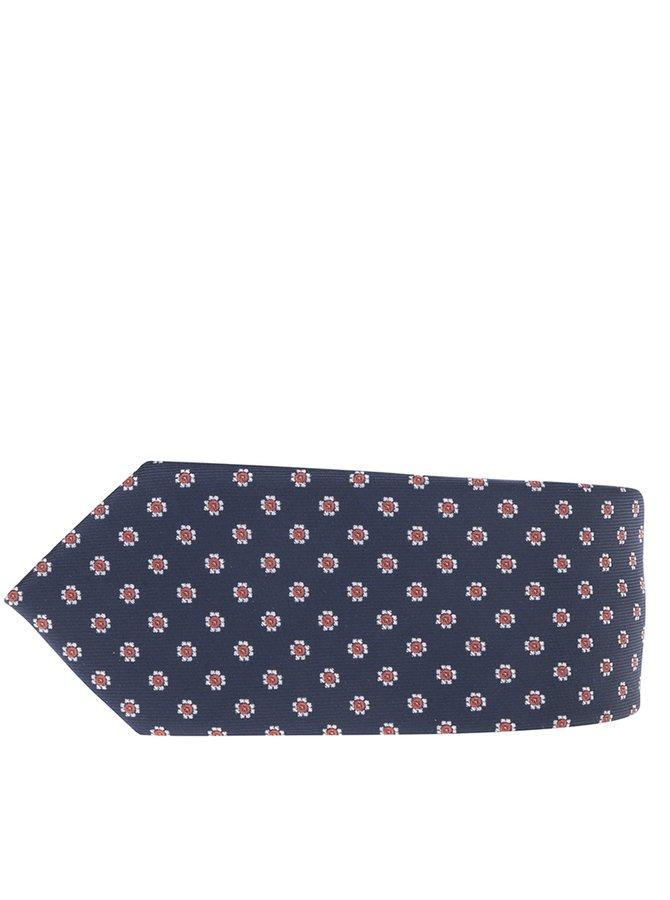 Tmavě modrá vzorovaná kravata Burton Menswear London