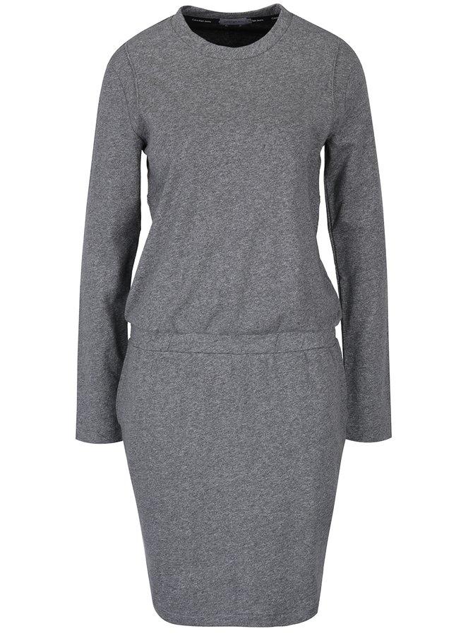 Šedé žíhané mikinové šaty s kapsami Calvin Klein Jeans Darina