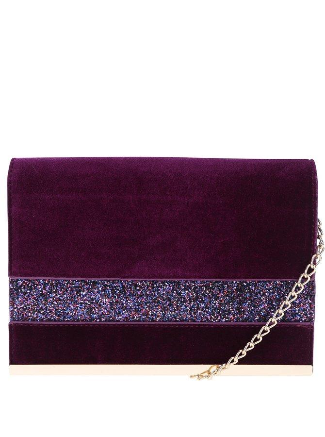 Tmavě fialové sametové psaníčko s třpytivými detaily Dorothy Perkins