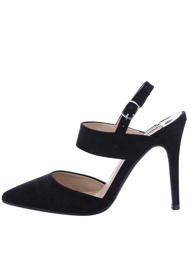 Sandale negre cu toc și călcâi decupat Dorothy Perkins